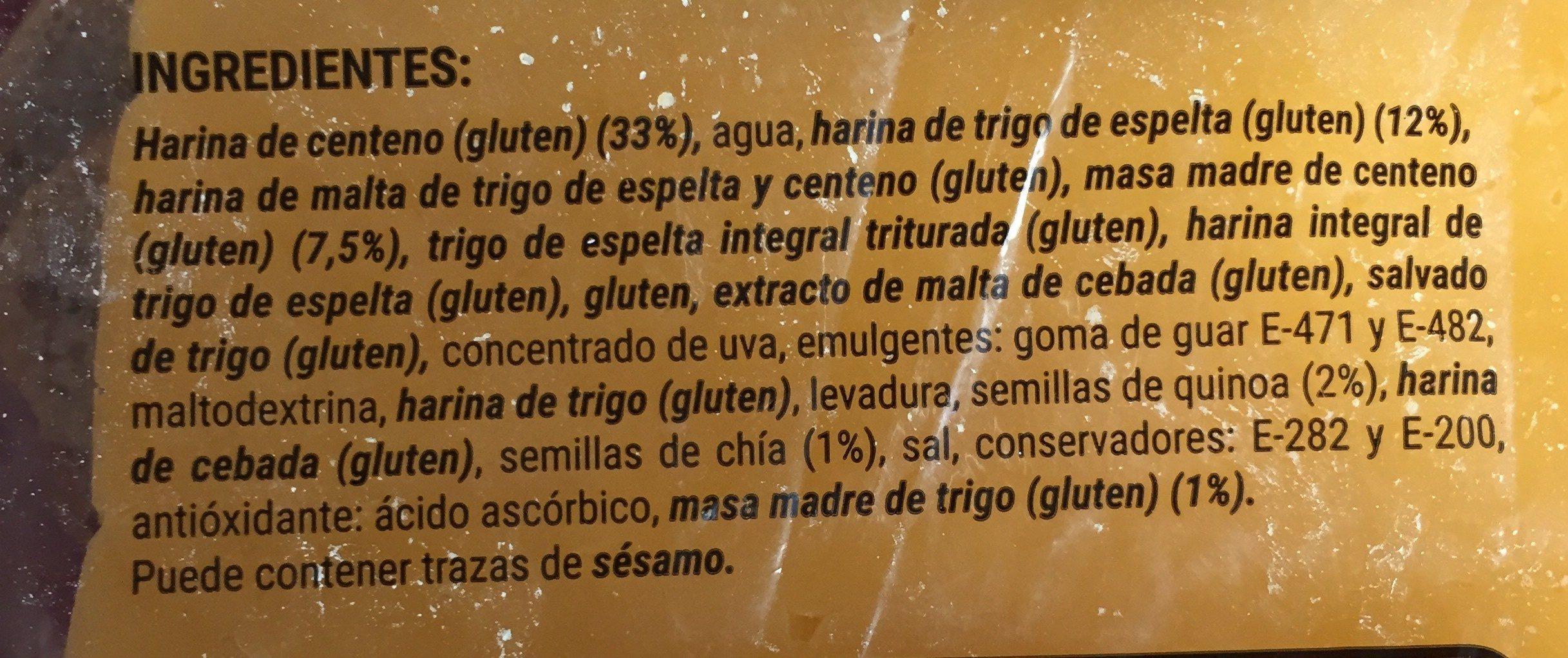 Hogaza de centeno y trigo de espelta - Ingrédients