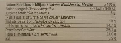 Moixernó - Seta de San Jorge - Nutrition facts