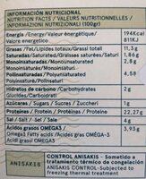 Filetes de boquerón en aceite de oliva virgen extra ecológico - Información nutricional - es