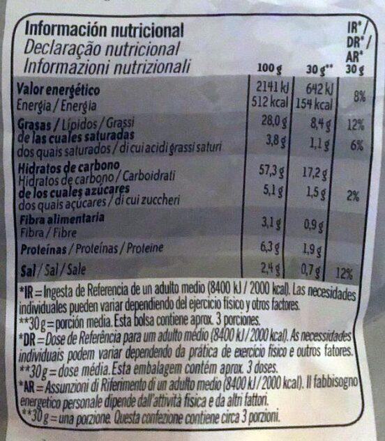 3D's bugles - Informació nutricional - es