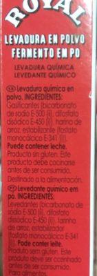 Royal Levadura Polvo 64 GR 4U - Ingredientes