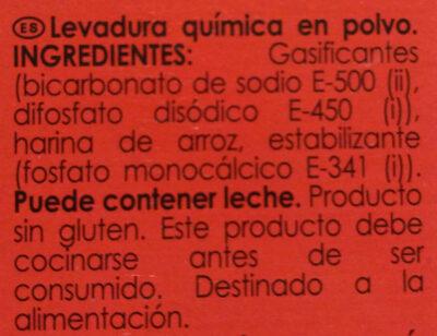 Levadura quimica - Ingredientes - es
