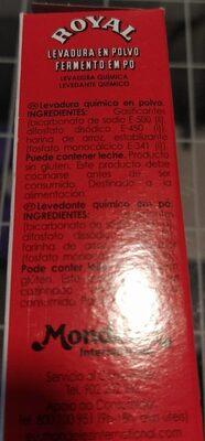 Levadura quimica - Información nutricional - es