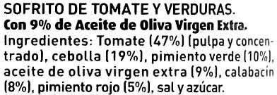 Sofrito de tomate y verduras - Ingrediënten