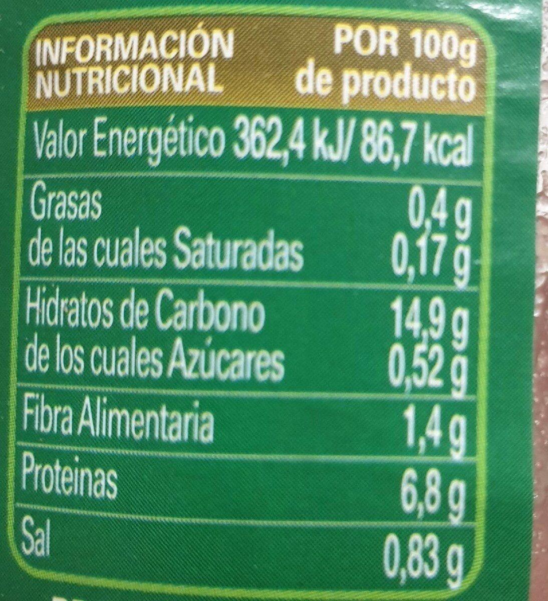 Lentejas cocidas - Nutrition facts - es