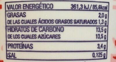 Yogur para beber fresa - Información nutricional