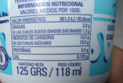 Yogur para beber coco - Información nutricional - es