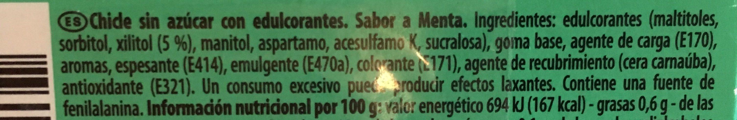 Trident - Dental+ menta fresca - Ingredientes