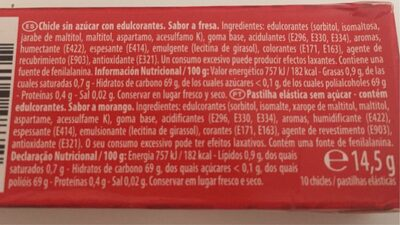 Chewing Gum goût fraise - Nutrition facts - es