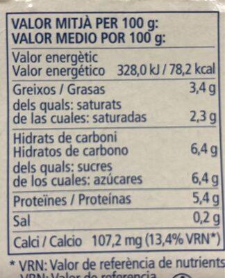 Iogurt cremós natural sin lactosa - Voedingswaarden - es