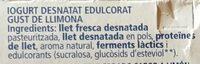 Yogur desnatado de limon con stevia - Ingredients - ca