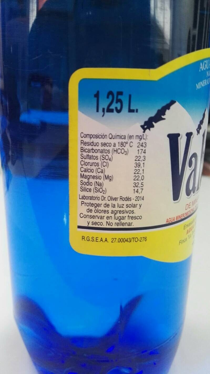 Agua Valtorre - Nutrition facts