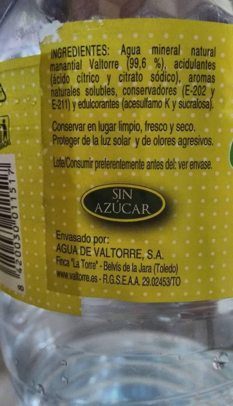 Valtorre Flash sabor limón - Ingredientes