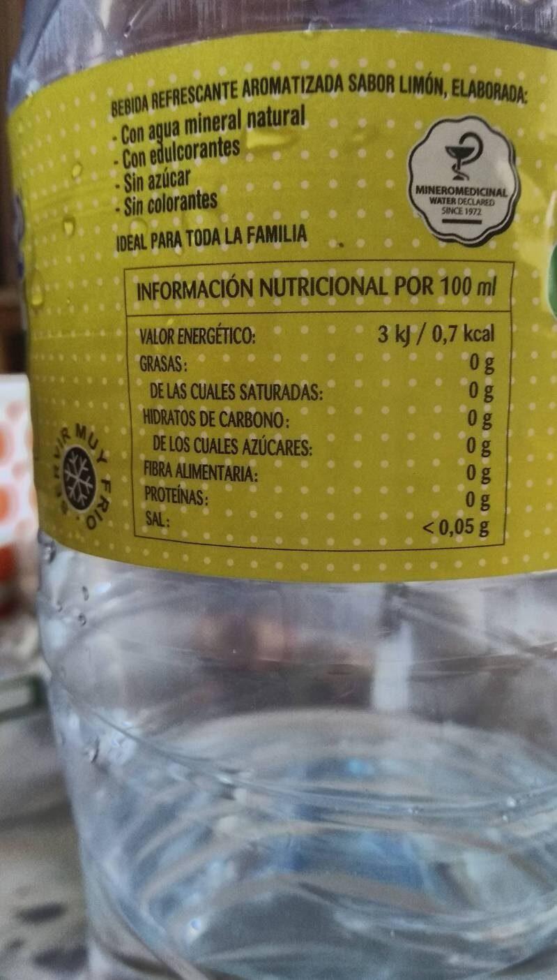 Valtorre Flash sabor limón - Información nutricional