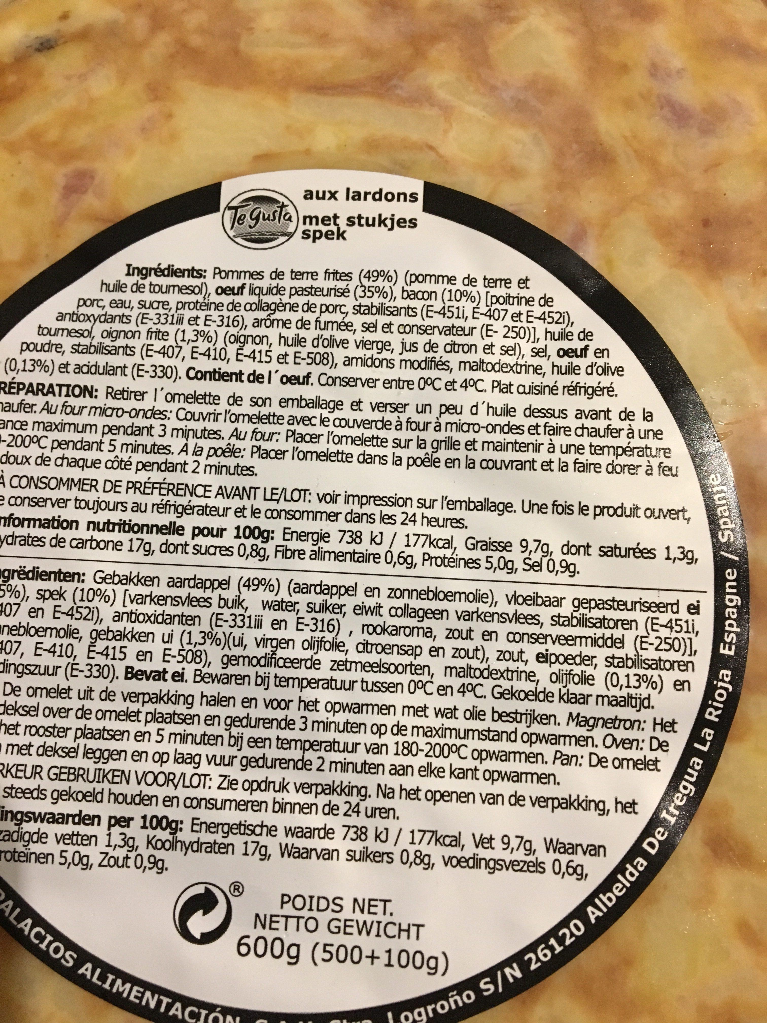 Te Gusta, Tortilla Aux Lardons, Le Paquet, 500g - Ingrediënten - fr
