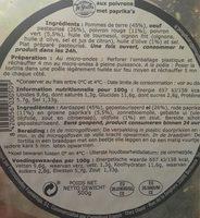 Campifood Tortilla Pomme De Terre Poivron 500G - Nutrition facts