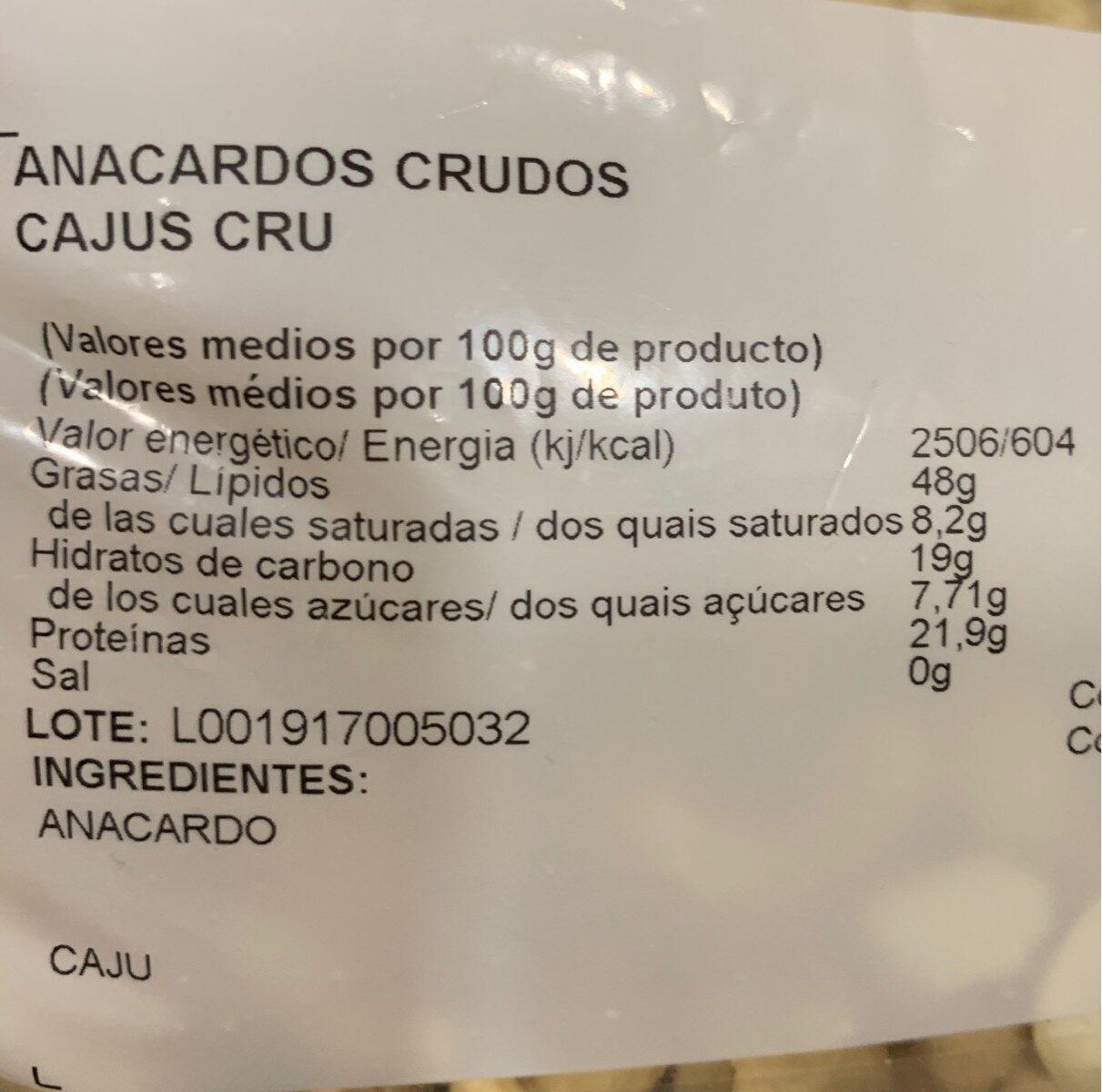 Anacardos crudos - Información nutricional - es