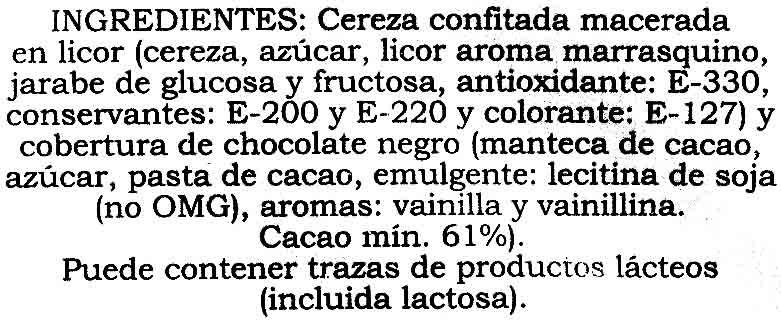 Guindas al marrasquino - Ingrédients - es