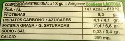 Queso Fresco Burgos - Informació nutricional