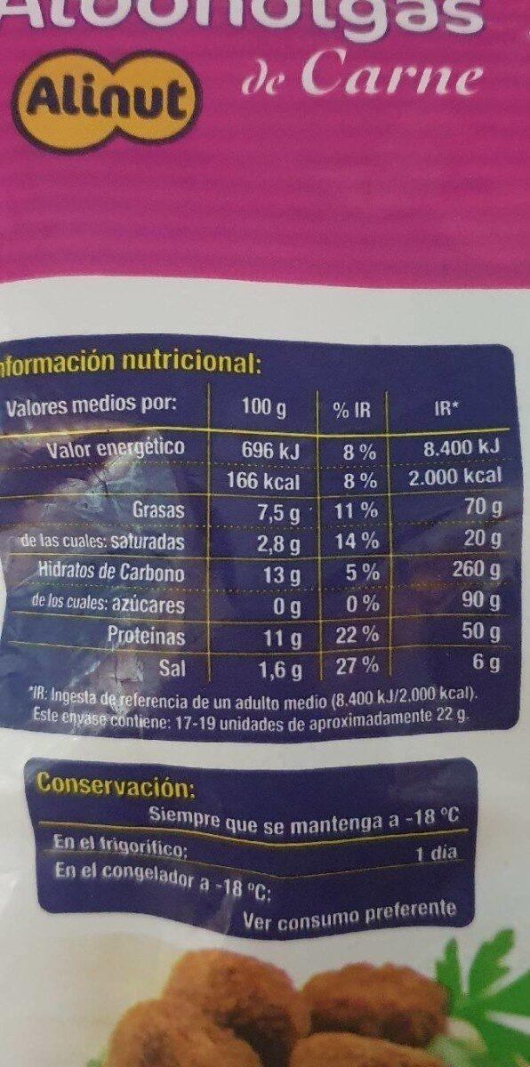 Albondigas de carne - Nutrition facts - es