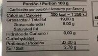 Jamón de cerdo ibérico 50% raza ibérica - Informations nutritionnelles - es