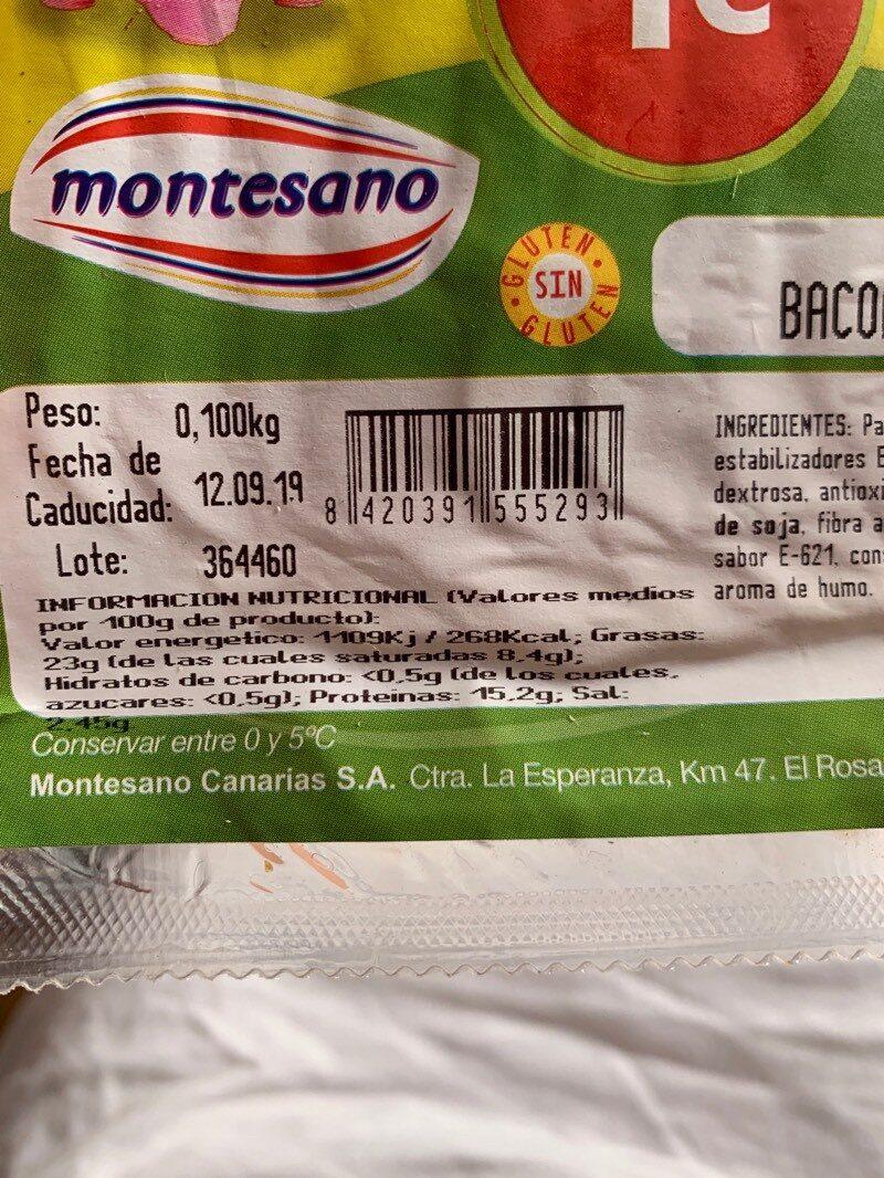 Bacon ahumado - Informació nutricional - es