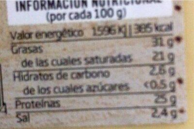 Queso semicurado de Mahon - Informations nutritionnelles - es