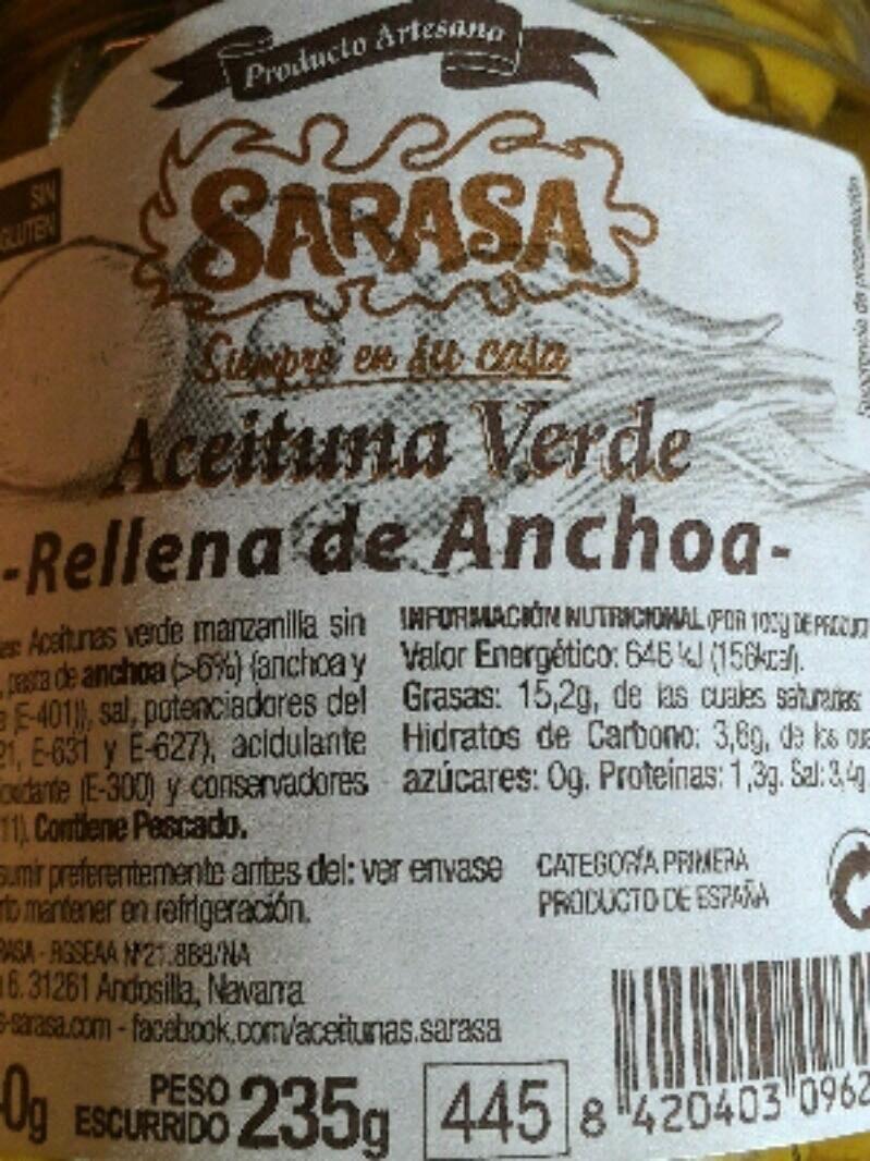 Aceitunas verdes rellenas de anchoa - Producte - es