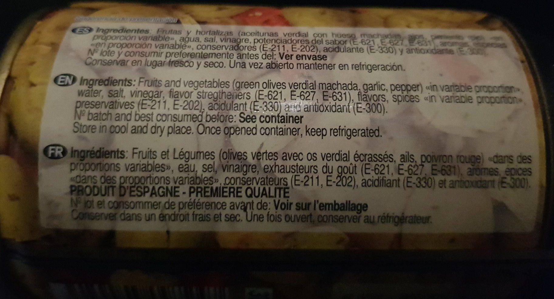 la receta del Cortijo - Ingredientes