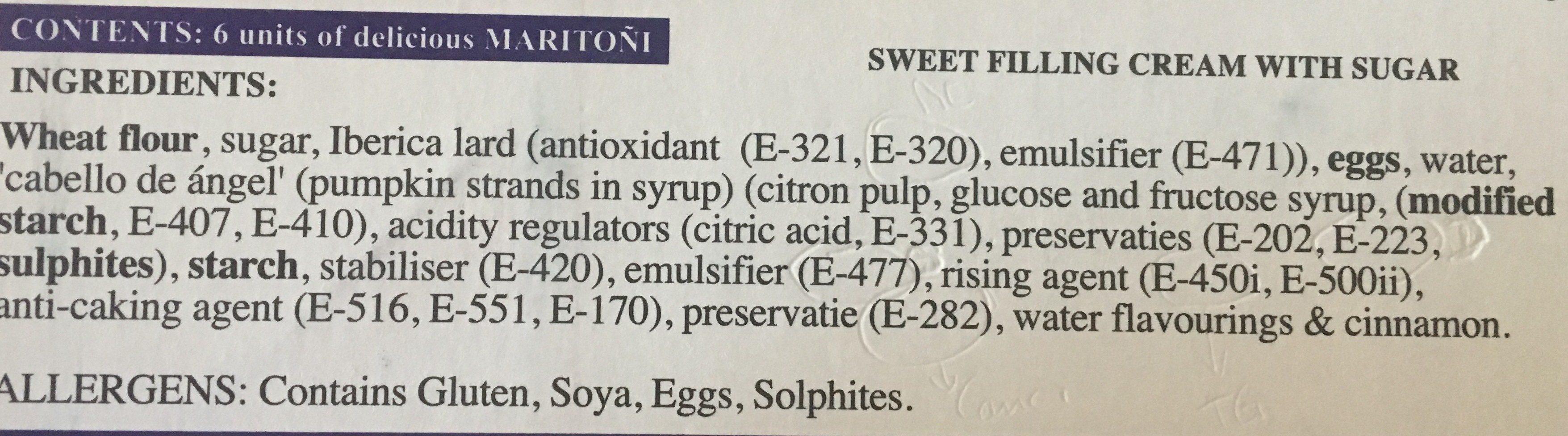 Tortas 6 unidades envase 740 g - Ingredientes