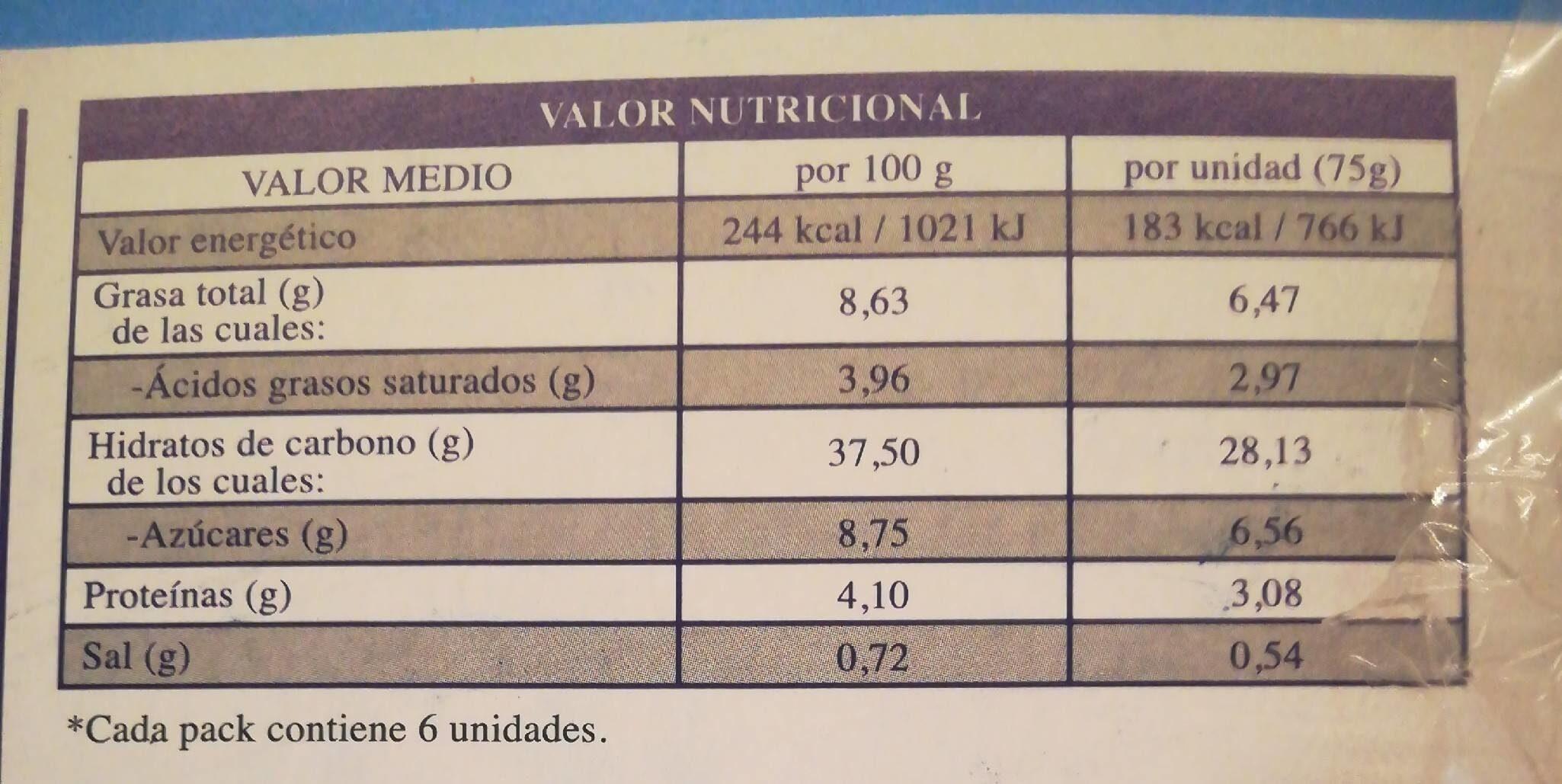 Tortas 6 unidades envase 740 g - Información nutricional