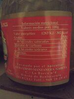 Miel de flores - Información nutricional - en