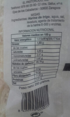 migas el pastorcico - Nutrition facts