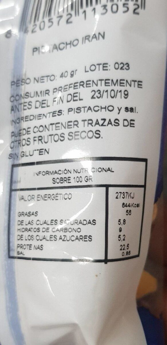Pistachos - Información nutricional