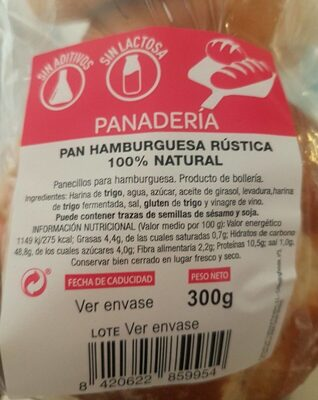 Pan hamburguesa rústica 100% natural - Nutrition facts