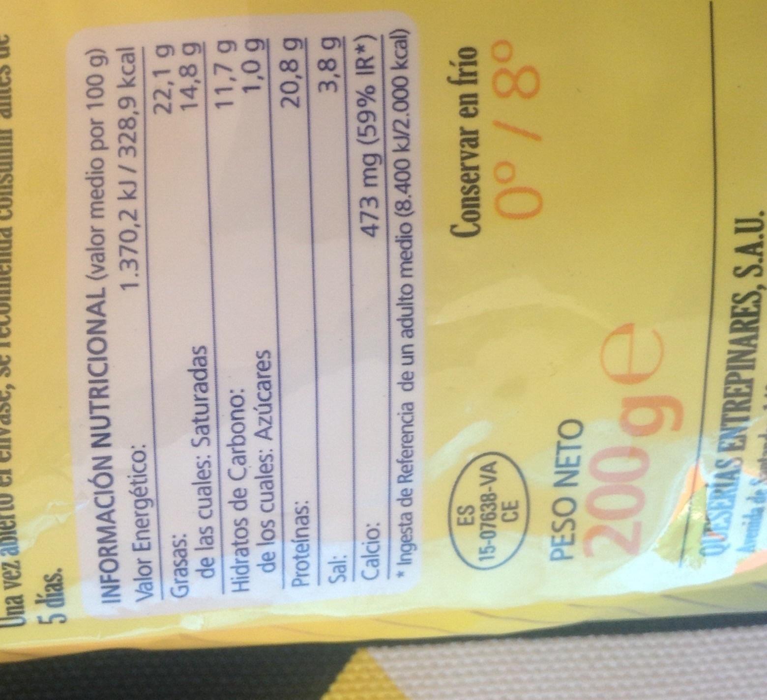 Queso rallado - Informations nutritionnelles