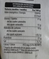Especial Fundir - Informations nutritionnelles - es