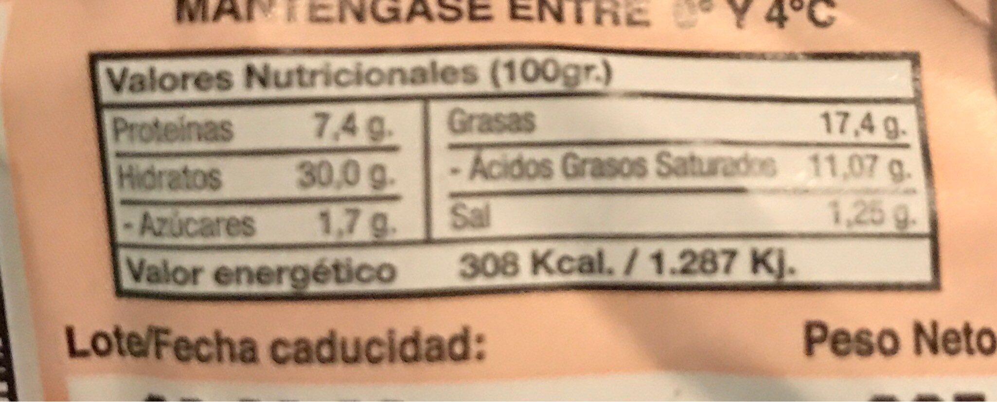 Empanada de Atún Hojaldre - Información nutricional - es