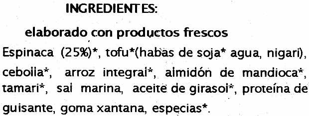 Veggie burguer espinacas - Ingredients - es