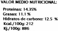 Veggie burguer espinacas - Informations nutritionnelles - es