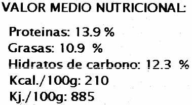 Hamburguesas vegetales Calabacín - Voedingswaarden - es