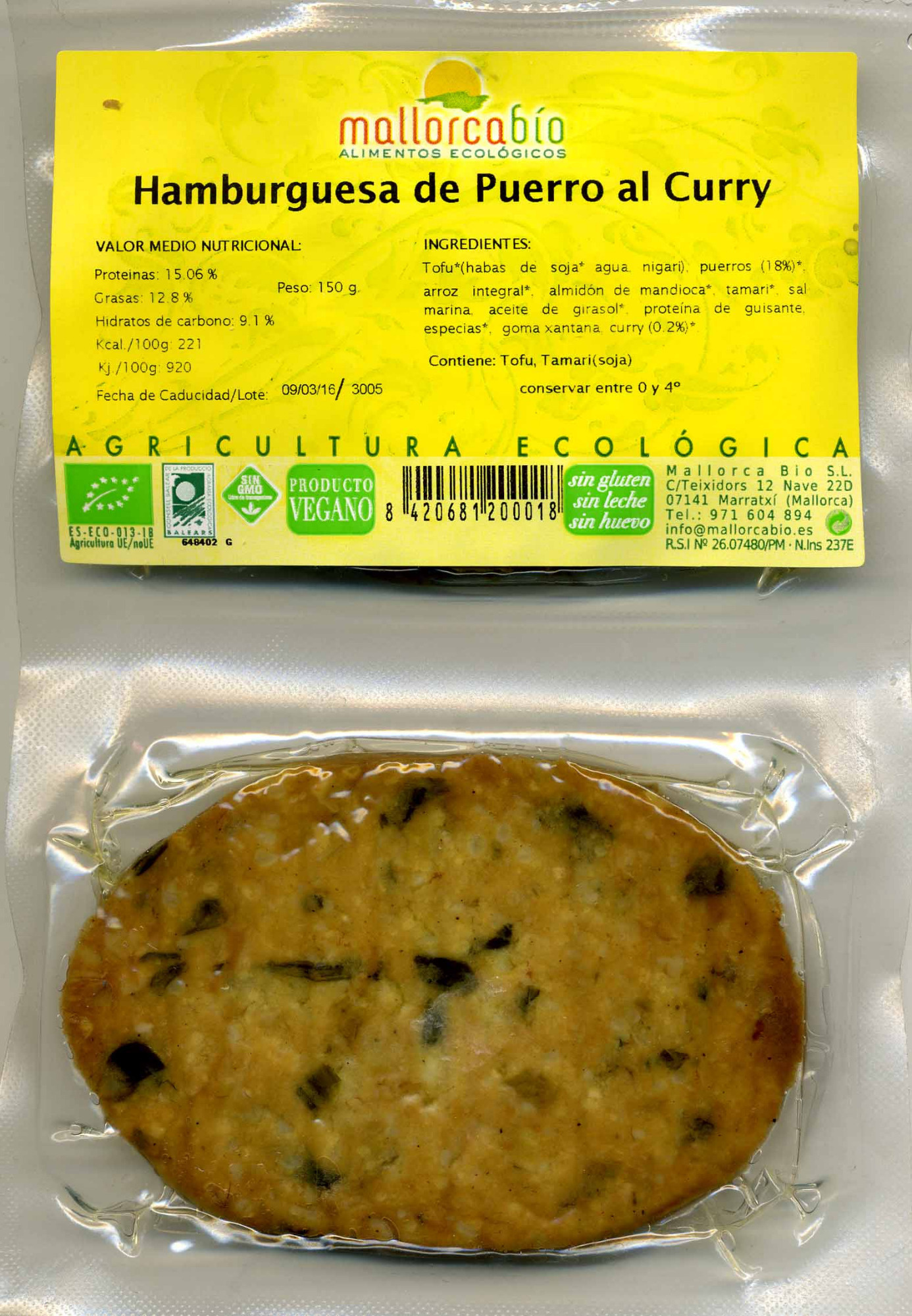 Veggie Burger Puerro al curry - Product - es