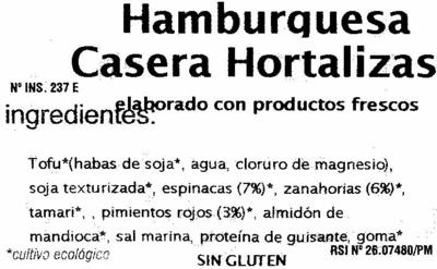 Hamburguesas vegetales Hortalizas - Ingredients - es