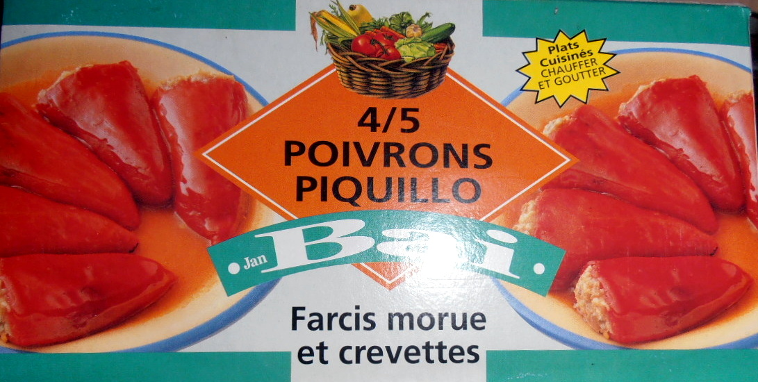 Poivrons piquillo farcis morue et crevettes - Producte