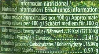 Maíz dulce cocido en mazorca - Información nutricional