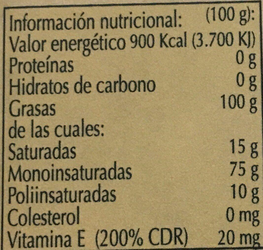 aceite de oliva virgen extra - Voedingswaarden