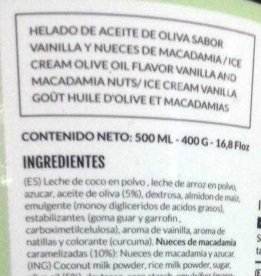 Helado vanilla macadamia - Ingrédients - es