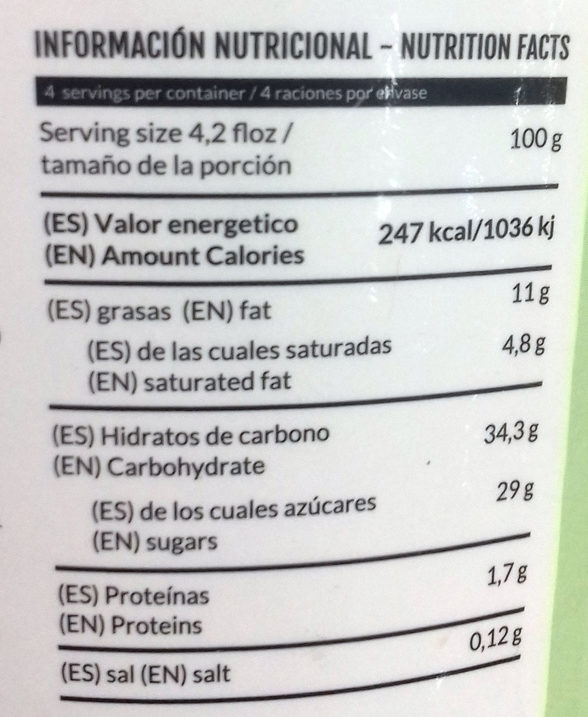 Helado vanilla macadamia - Informations nutritionnelles - es
