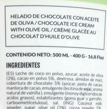 Helado de chocolate con aceite de oliva - Ingrédients - es