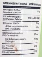 Helado de chocolate con aceite de oliva - Informations nutritionnelles - es